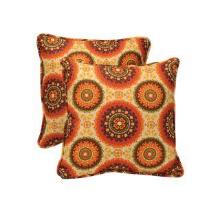 Pillow Perfect Outdoor Brown/ Orange Circles Toss Pillows (Set of 2