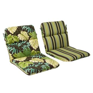Pillow Perfect Outdoor Green/ Brown Tropical Round Chair Cushion