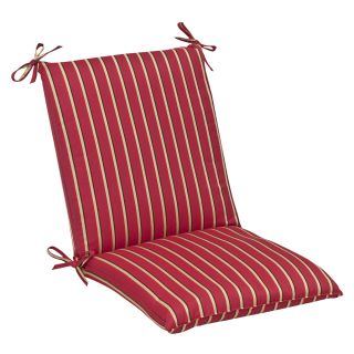 Pillow Perfect Outdoor Red/ Gold Striped Squared Chair Cushion with
