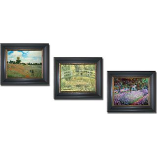 Claude Monet Giverny, Poppyfields, and Footbridge Framed 3 piece