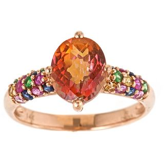 Yach 14k Rose Gold Orange Topaz and Multi gemstone Ring
