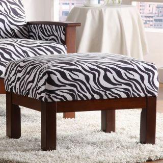 Hills White/ Black Zebra print Ottoman