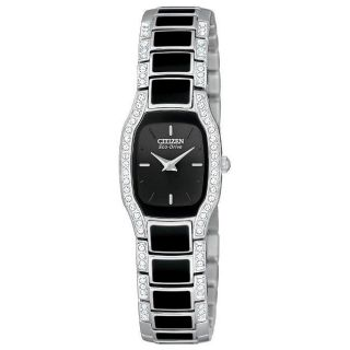 Citizen Womens Eco Drive Normandie Black Dial Crystal Watch