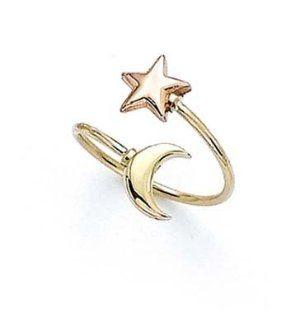 14k Two Tone Star Moon Toe Ring   JewelryWeb Jewelry