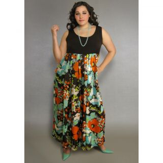 INES Collection Womens Plus Scoop Neck Floral Maxi Dress