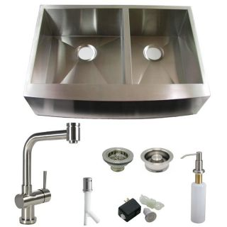 DeNovo Double Bowl Stainless Steel Farmhouse Kitchen Sink and Faucet