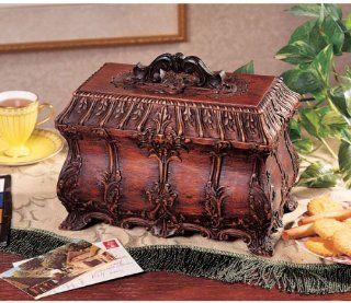 Victorian Antique Replica Hand Carved Tea Chest Storage