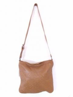 BESSO Camel Woven Leather Luxury Italian Shoulder Bag
