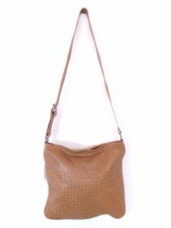 BESSO Camel Woven Leather Luxury Italian Shoulder Bag