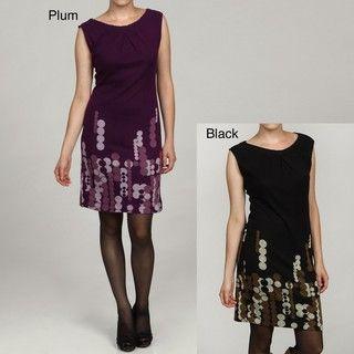 Jonathan Martin Womens Retro Dots Sequin Border Dress