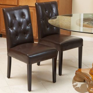 Christopher Knight Home Gentry Bonded Leather Brown Dining Chair (Set