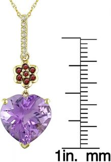 14k Gold Amethyst Heart and Garnet Pendant