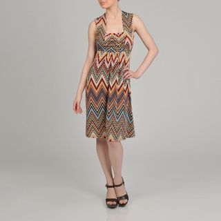 Lennie for Nina Leonard Womens Geometric Print Sleeveless Ruched