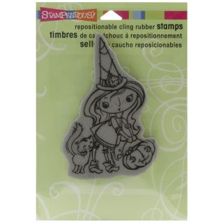 Stampendous Halloween Cling Rubber Stamp Kitty Candy Kiddo