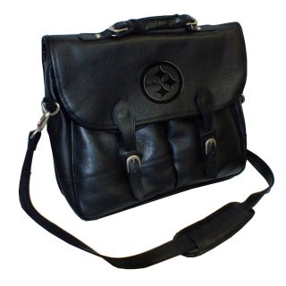 Pittsburgh Steelers Debossed Black Leather Anglers Bag