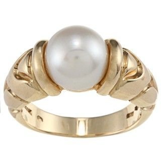 Bvlgari 18k Yellow Gold Freshwater Pearl Parentesi Estate Ring (9 mm