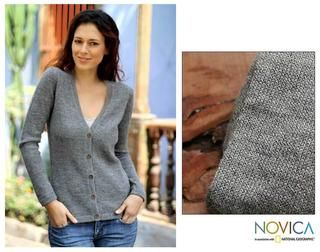Womens Alpaca Wool Andean Mist Cardigan Sweater (Peru)