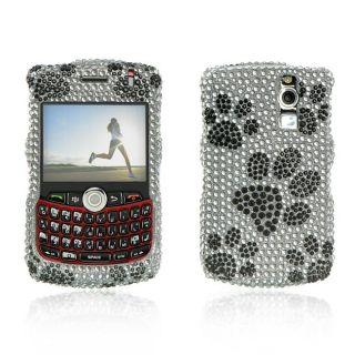 Silver Dog Paw BlackBerry Curve 8300/ 8330 Rhinestone Case