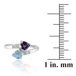 Glitzy Rocks 10k White Gold Diamond Swiss Blue Topaz And Amethyst