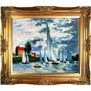 Claude Monet Regates at Argenteuil Hand Painted Framed Canvas Art