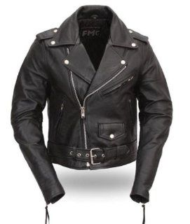 First Classics Womens Classic Motorcycle Leather Jacket. Quilted