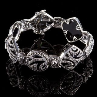 Judith Jack Sterling Silver Onyx and Marcasite Bracelet