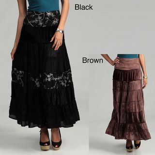 Tokyo Collection Womens Long Velvet Skirt with Flower Embroidery