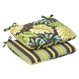 Pillow Perfect Outdoor Green/Brown Tropical/ Striped Rounded