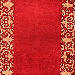 Persian Hand knotted Rose/ Ivory Mashad Antique Wool Rug (24 x 164