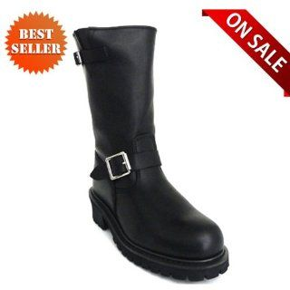 Mens Leather Harness Motorcycle Boots MB1005BL