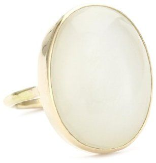 Melissa Joy Manning Sand 14k Gold MoonStone Ring, Size 7