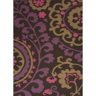 Flat Weave Floral Pink/ Purple Wool Rug (36 x 56) Today $98.99 Sale