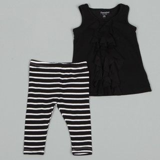 ABS Infant Girls Ruffle Front Top Striped Leggings Set