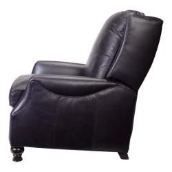 Charles Navy Blue Leather Recliner Club Chair