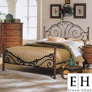 ETHAN HOME LeAnn Graceful Scroll Bronze Iron Queen size Poster Bed