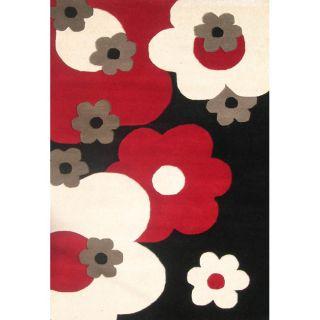Handmade Sabrina Black Floral Wool Rug (5 x 8)