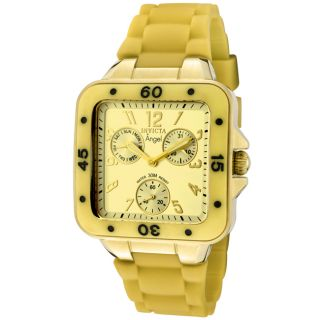 Invicta Womens Angel Gold Dial Gold Rubber Watch