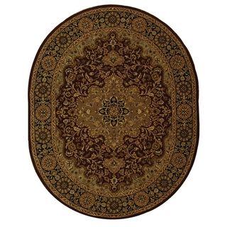 Handmade Heritage Tabriz Red/ Black Wool Rug (46 x 66 Oval