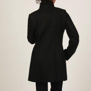 MICHAEL Michael Kors Womens Black Clip Closure Wool Blend Coat
