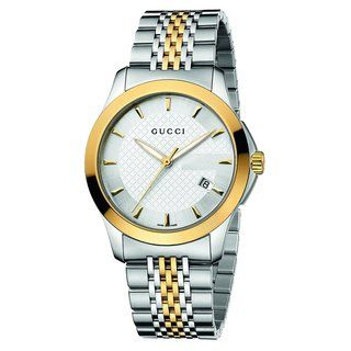 Gucci Mens Timeless Silver Dial Two Tone Stainless Steel Watch