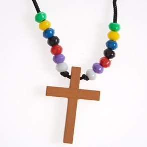Wooden Cross Bead Necklace Toys & Games