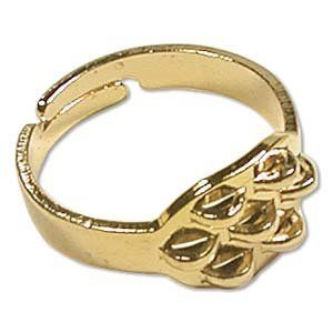 Gold Plated Adjustable Ring Blank With 8 Loops (6) 85003