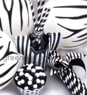 Paper Straws Black Stripe box of 144
