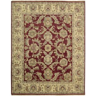 Hand knotted Manchester Red/ Beige Wool Rug (86 x 116)