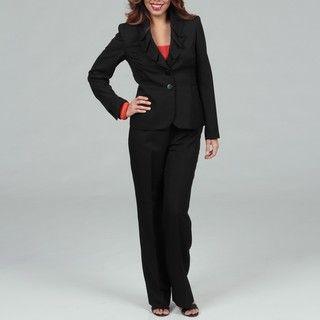 Kasper Womens Melange Ruffle Collar Pant Suit