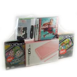 NinDS Lite Bundle   Coral Pink with 2 Movies and Nacho Libre Game