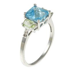 14k White Gold Blue Topaz, Peridot and Diamond Accent Ring (K L, I1 I2