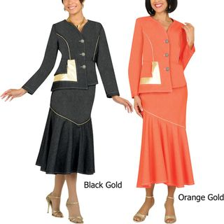 Divine Apparel Womens Plus Gold Trim Denim Suit
