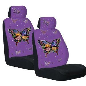 Front Low Back Car Truck SUV Colorful Butterfly Seat Covers
