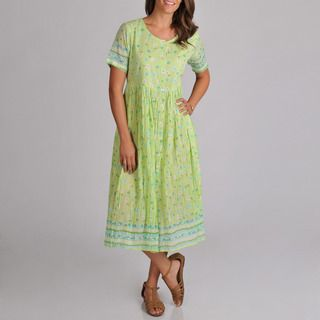 La Cera Womens Embroidered Lime Dress